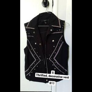 Black Studded & Embroidered Vest